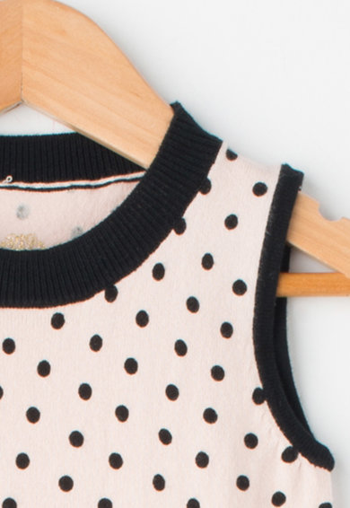 GUESS JEANS Rochie tricotata fin fara maneci cu buline Fete