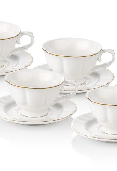 Noble Life Serviciu de cafea  12 piese, portelan, chenar auriu, Alb Femei