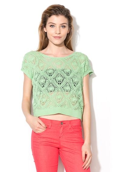 United Colors of Benetton Top crosetat verde fistic cu maneci scurte Femei
