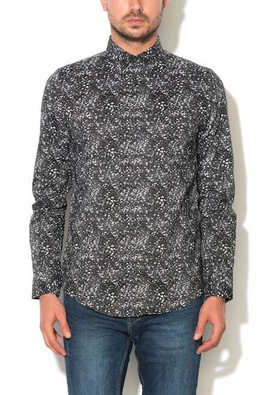 Jack&Jones Тъмносива вталена риза с флорална шарка Мъже