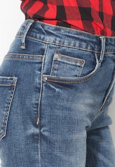 Zee Lane Denim Jeansi crop albastri evazati cu terminatie franjurata Femei