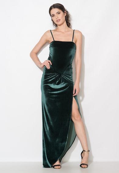 Zee Lane Collection Rochie lunga verde inchis catifelata cu slit lateral Femei