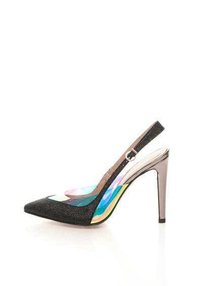 Roberto Botella Pantofi slingback negri cu toc argintiu inchis Femei