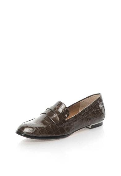 Calvin Klein Pantofi loafer maro de piele lacuita cu model crocodil Celia Femei
