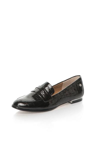 Calvin Klein Pantofi loafer negri de piele lacuita cu model crocodil Celia Femei