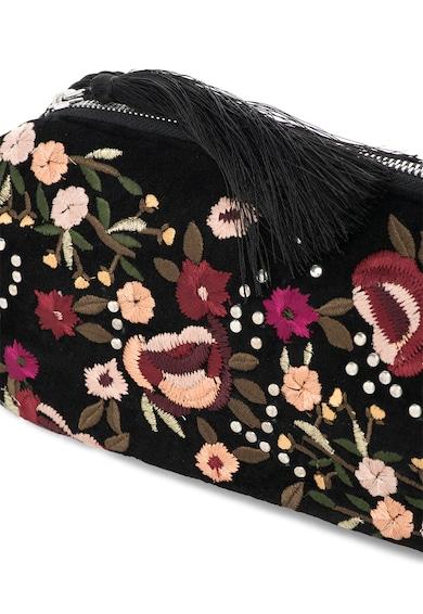 NEW LOOK Geanta crossbody neagra cu broderii florale Femei