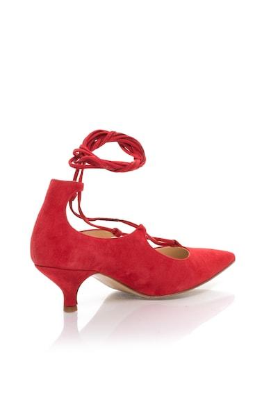 Zee Lane Pantofi rosii de piele intoarsa cu siret Femei