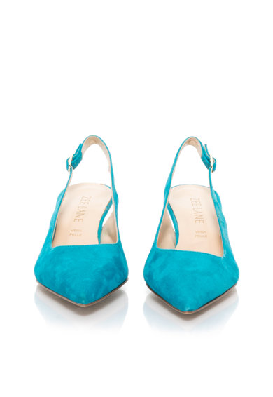 Zee Lane Pantofi slingback turcoaz de piele intoarsa Femei