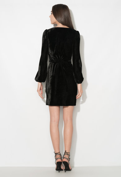 Zee Lane Collection Rochie petrecuta neagra catifelata cu cordon Femei
