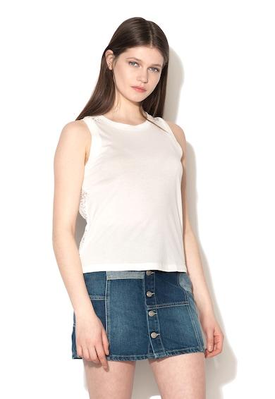 Pepe Jeans London Top alb cu spate brodat Lorena Femei