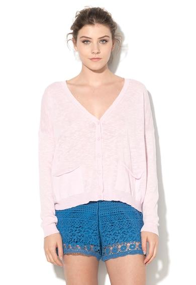 United Colors of Benetton Cardigan roz deschis tricotat fin cu buzunare Femei