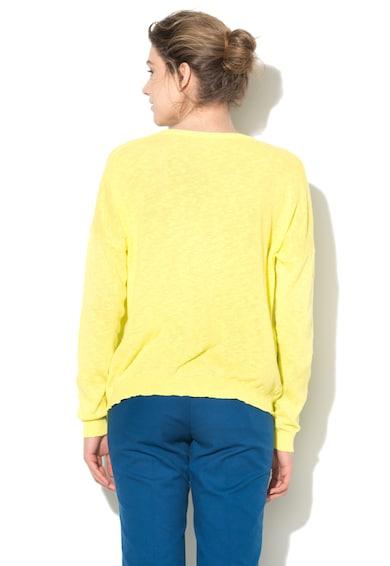 United Colors of Benetton Cardigan galben chartreuse tricotat fin cu buzunare Femei