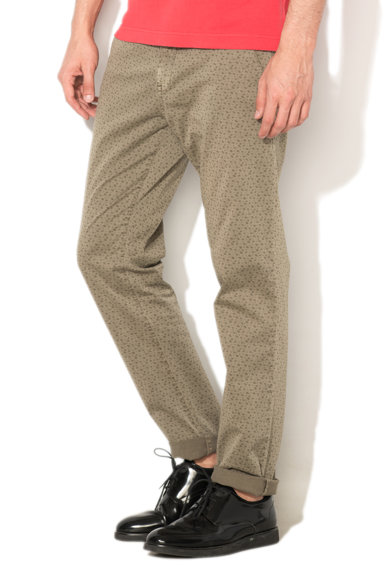 United Colors of Benetton Pantaloni chino slim fit verde militar cu model paisley Barbati