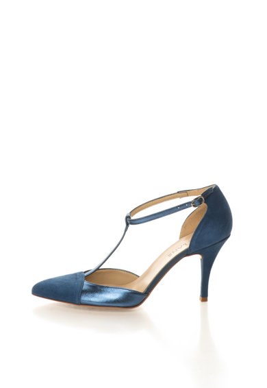 Zee Lane Pantofi albastru mineral de piele si piele intoarsa cu bareta T Femei