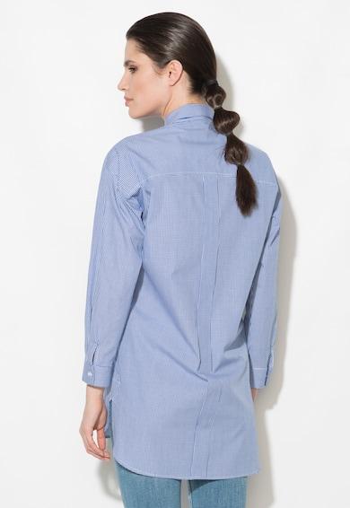 Zee Lane Denim Camasa albastru cu alb cu buzunar supradimensionat pe piept Femei