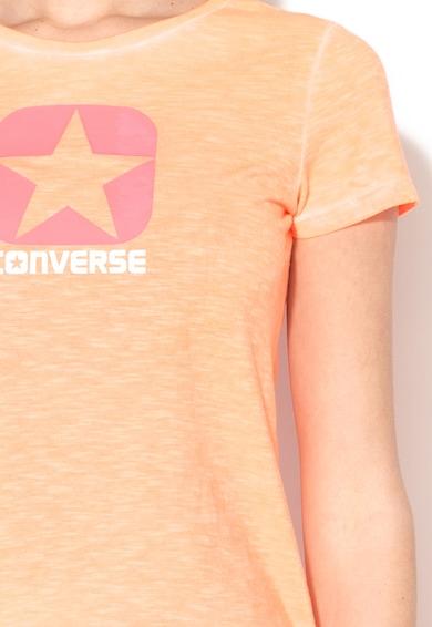 Converse Tricou oranj neon melange cu decolteu la baza gatului Femei