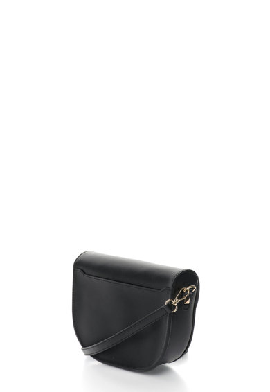 Oakoui Geanta saddle neagra de piele cu detaliu metalic auriu Femei