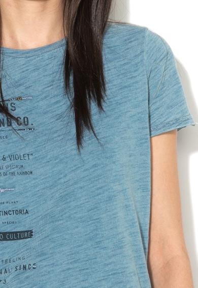 Pepe Jeans London Tricou albastru melange cu imprimeu text Yolanda Femei