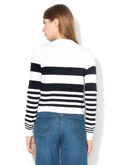Love Moschino Cardigan alb cu bleumarin inchis tricotat fin Femei