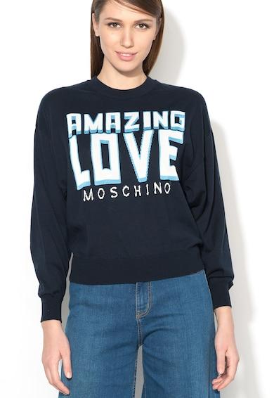 Love Moschino Pulover in nuante de albastru si alb cu imprimeu Femei
