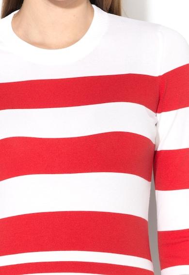 Love Moschino Pulover rosu cu alb tricotat fin Femei