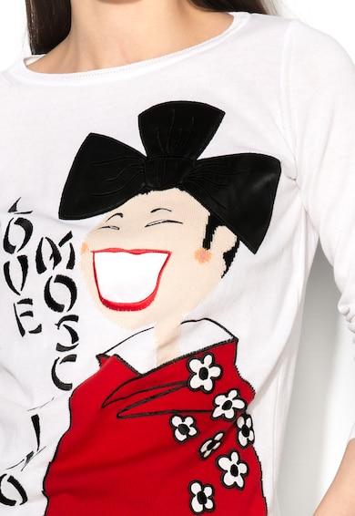Love Moschino Pulover alb cu model negru cu rosu Femei