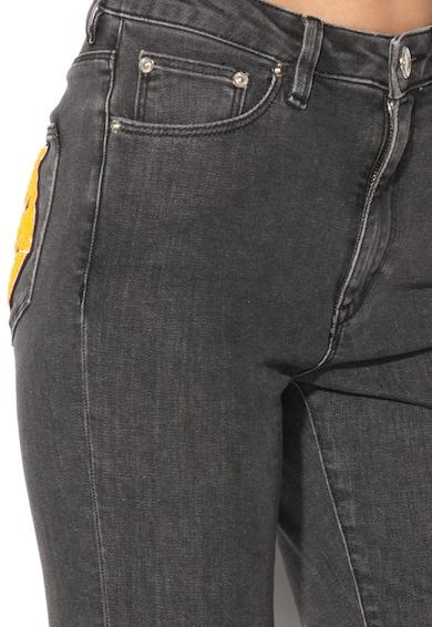 Love Moschino Jeansi conici elastici gri cu logo Femei