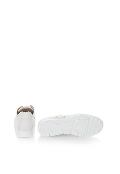 Bullboxer Pantofi sport albi de piele cu detalii perforate Femei