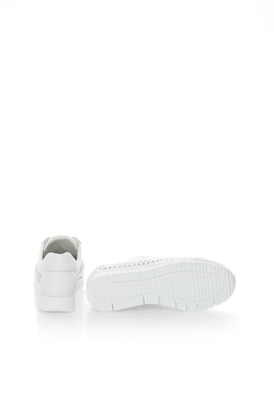 Bullboxer Pantofi sport albi de piele cu design impletit Femei