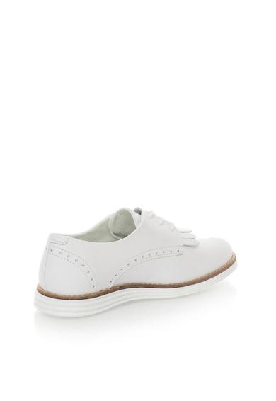 Bullboxer Pantofi derby albi de piele cu franjuri Femei