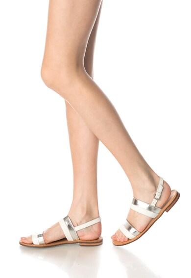 Geox Sandale alb cu argintiu de piele Sozy Femei