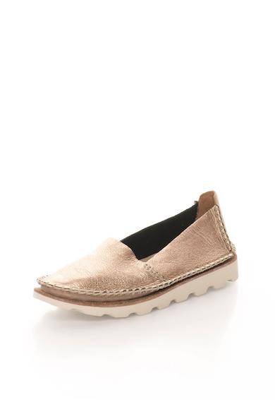 Clarks Pantofi slip-on aurii de piele Damara Chic Femei