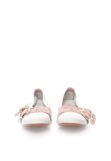 Zee Lane Balerini alb cu roz prafuit de piele cu piele intoarsa Milva Femei