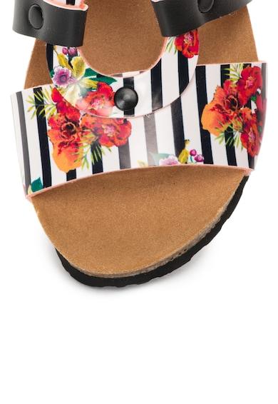 DESIGUAL Sandale wedge negru si alb cu model floral Femei