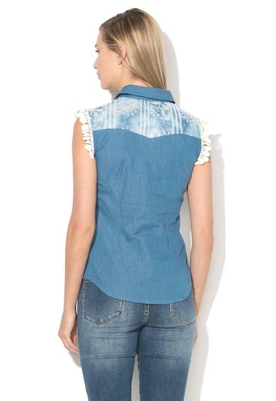 DESIGUAL Camasa albastra din denim cu insertii crosetate Laia Femei