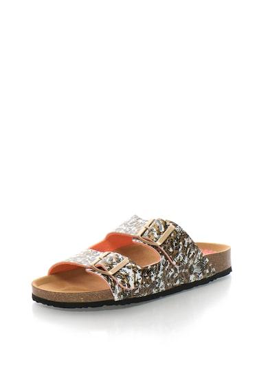 DESIGUAL Papuci alb si maro bronz cu imprimeu The Queen Femei