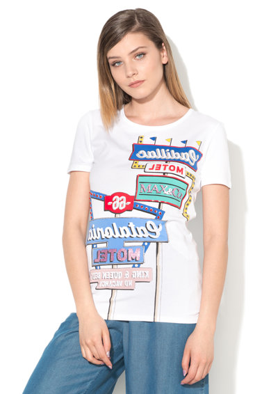 Max&Co Tricou alb cu imprimeu si strasuri Dylan Femei