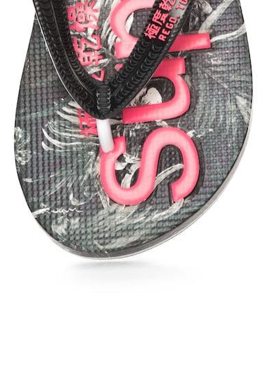 SUPERDRY Papuci flip-flop negru cu alb AOP Femei