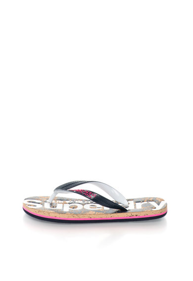 SUPERDRY Papuci flip-flop negru cu alb Femei