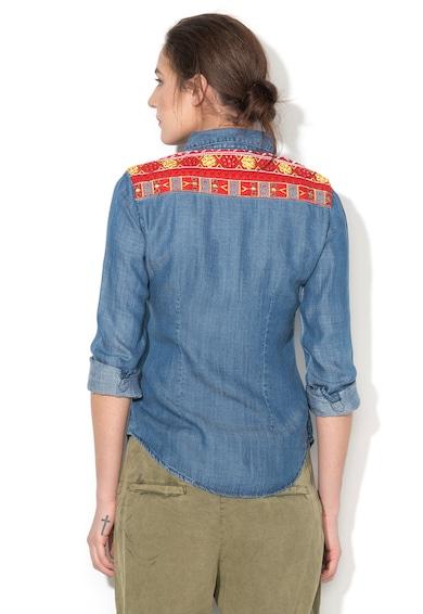 DESIGUAL Camasa albastra din lyocell cu aplicatii brodate Exotic Femei