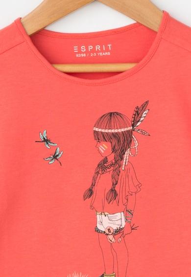 Esprit Tricou corai cu imprimeu frontal Fete