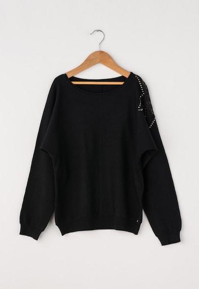 GUESS JEANS Pulover negru tricotat fin cu detaliu din dantela Fete