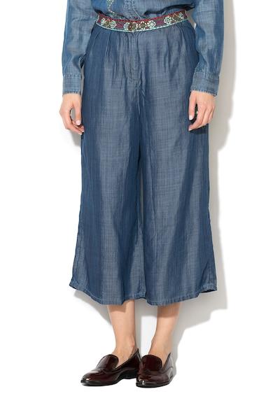 DESIGUAL Pantaloni albastri din lyocell cu broderie Amsterdam Femei