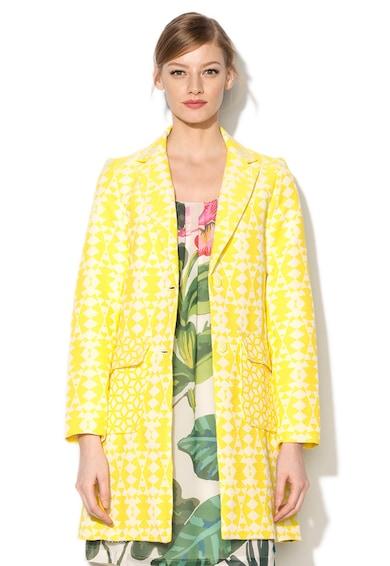 DESIGUAL Palton galben aprins cu model geometric Inma Femei
