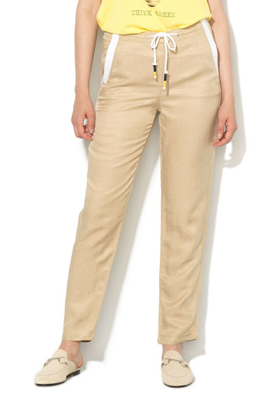 United Colors of Benetton Pantaloni maro nisip cu garnituri albe si snur Femei