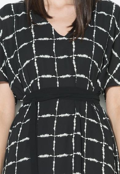 Zee Lane Collection Rochie negru si alb cu decolteu en-coeur si cordon Femei