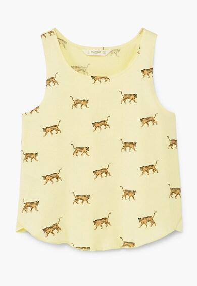 Mango Top galben cu imprimeu cu tigri Fete