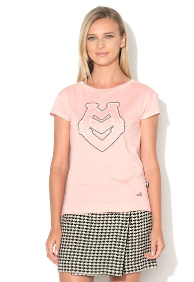 Love Moschino Tricou din amestec de modal cu logo din margele Femei