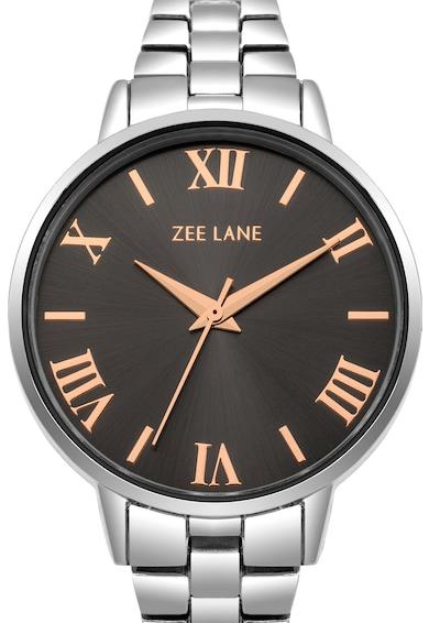 Zee Lane Ceas rotund cu display analog, Argintiu Femei
