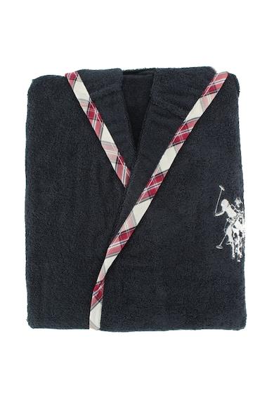 Us Polo Assn. Halat de baie US Polo ASSN Arcata, 98% bumbac + 2% poliester, pentru barbati, Albastru/Alb/Rosu Femei